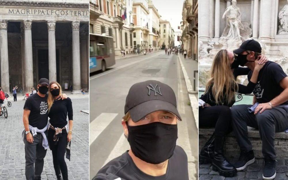 Ilary Blasi e Francesco Totti liberi in giro per Roma: con le mascherine nessuno li riconosce