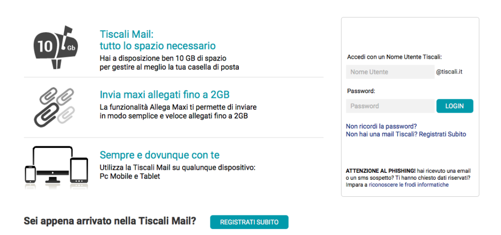 tiscali mail login